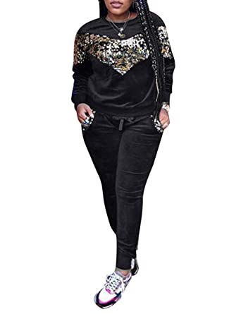 aef7b83ffa374 Women s 2 Piece Velvet Sequins Tracksuit Pullover Long Sleeve Sweatshirt +  Long Bodycon Pants Outfit Set