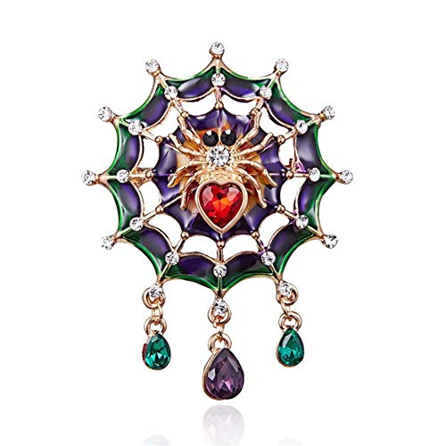 (AILUOR Fashion Enamel Horse Spider Web Breast Brooch Pins, Women's Crystal Animal Lpel Pin Accessory Costume Halloween Party Jewelry Gift for Teen Girl (Spider)