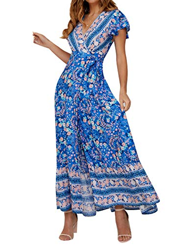 Women's Dresses Summer Wrap V Neck Floral Boho Beach Split Maxi Dress