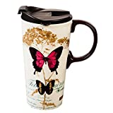 Cypress Home Gold Leaf Butterfly Ceramic Travel Coffee Mug, 17 ounces by Cypress