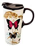 Cypress Home Gold Leaf Butterfly Ceramic Travel Coffee Mug, 17 ounces