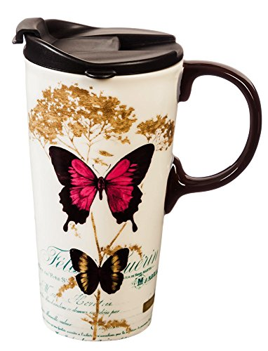 Butterfly 17 oz. Ceramic Travel Cup