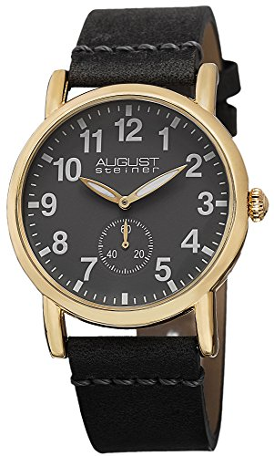 August Steiner Women's AS8110YG Swiss Quartz Gold-tone Grey Leather Strap Watch