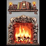 Gothic 4x5 FIREPLACE SKULLS WALL DECORATION Halloween Haunted House Scene Setter