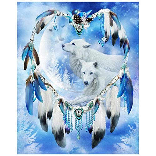 (Diamond Painting Kits for Adults DIY Painting by Number Kits, Crystal Rhinestone Embroidery Pictures Arts Craft for Home Wall Decor Gift,(Wolf Dream Network,11.8 x 15.8 inches) )