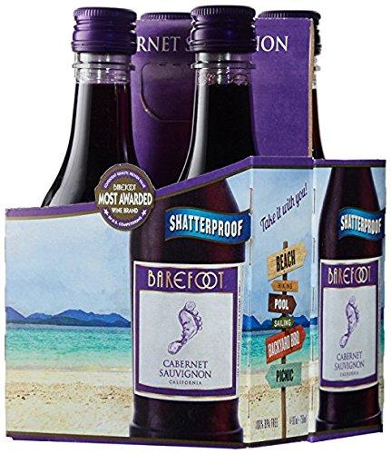 Barefoot Cellars California Cabernet Sauvignon Plastic and Portable Mini Wine Bottles, 24 x 187ml