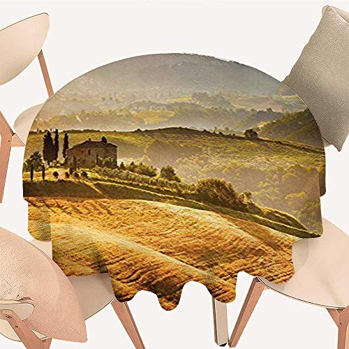 (Dragonhome Round Polyester Tablecloth Table Cover Siena Tuscany Vineyard Retro Farmhouse Cypress Trees and Sunset Picture Accessories for Most Home Decor, 63 INCH Round)