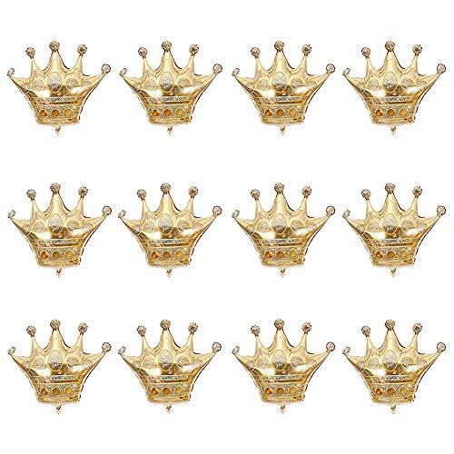 WULEEUPER Crown Balloons 12inch Gold Foil Helium Mylar Balloons for Birthday Wedding Halloween Christmas Party Decoration (Mini,12pcs)]()