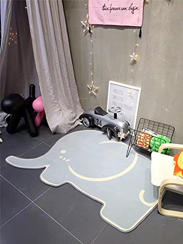 Liitrton Polyester Elephant Shape Animal Baby Play Crawl Mat Decor Rug for Bedroom Living Room by Liitrton