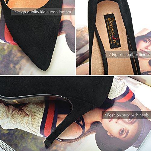 Donnain Donna Pumps Vera Pelle Stiletto Tacco Alto In Camoscio Naturale Scarpe Da Donna Per Primavera Nero