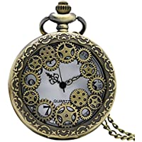 Antique Copper Steampunk Vintage Hollow Bronze Gear Hollow Quartz Pocket Watch With Chains For Men Women