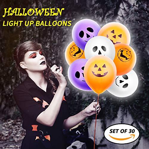 Cheap  Halloween LED Balloons - 30pcs Light Up Balloons Halloween Ghost Balloon with..