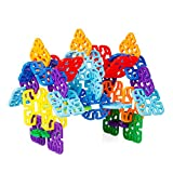 Agirlgle Flakes Building Blocks Kids Educational Toys STEM Toys Building Discs Sets l Plastic for Preschool Kids Boys and Girls, Learning Toys for Kids - 100 Pieces with Storage Bag- Ages 3 and Up