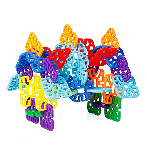 Agirlgle Flakes Building Blocks Kids Educational Toys STEM Toys Building Discs Sets l Plastic for Preschool Kids Boys and Girls, Learning Toys for Kids - 100 Pieces with Storage Bag- Ages 3 and Up by Agirlgle