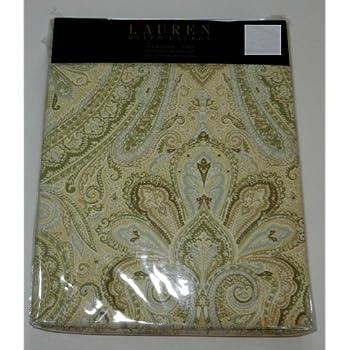 Lauren By Ralph Shower Curtain Fabric 70 X 72 Fenton Paisley Yellow Sage Grey White