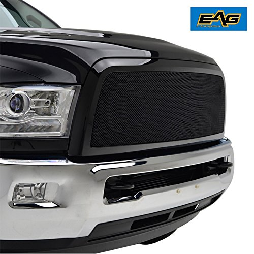 E-Autogrilles 13-18 Dodge Ram 2500/3500 Black Stainless Steel Front Main Upper Wire Mesh Replacement Grille Grill With Shell - Grill Shell