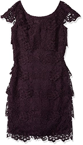 Emma Street Women's Lace Tiered Short Dress with Cap Sleeve, Eggplant, 14