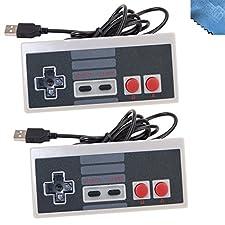 2 Packs Classic Nintendo USB NES Controller USB Famicom Controller Joypad Gamepad,EEEKit Computer Games Solution Kit for Windows PC / MAC / Raspberry Pi