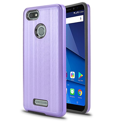 BLU Vivo XL3 case, (V0250WW) 5.5 inch case, [ New Frontier Wireless], Tough Hybrid + Dual Layer Shockproof Drop Protection Metallic Brushed Case Cover for BLU Vivo XL3 case (VGC Light Purple)