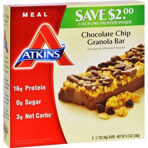 Atkins Meal Chocolate Chip Granola Bar 5 Bars 1 7 oz 48 g (Chocolate Granola Recipes)
