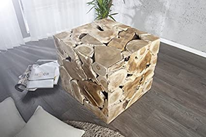 Ii design sgabello woodcube cm in legno di teak amazon