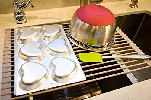 Surpahs Over the Sink Multipurpose RollUp Dish Drying Rack Warm Gray Large