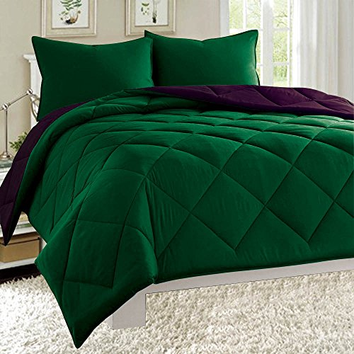 Dayton Reversible Down Alternative 3-Piece Comforter Set Soft Brushed Microfiber Quilted Bed Cover All Sizes (King, Hunter Green & Plum Purple)