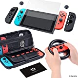 CamKix Compatible Grip and Protection Kit Replacement for Nintendo Switch: Nylon Case, Tempered Glass Screen Protector, Steering Wheel Cover, Joy Con Covers, Thumb Grip Covers, Cleaning Cloth