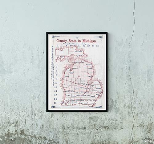 1866 Regional Atlas Map|County Seats in Michigan. Larrance