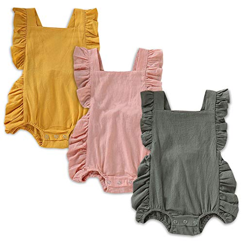 (OPAWO Newborn Baby Girl Ruffled Solid Color Sleeveless Backless Romper Infant One-Piece Sunsuit Summer Jumpsuit 0-24M (3pk Green/Pink/Yellow, 0-6)