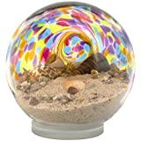 Beautiful Sea Globe Tabletop Decoration and Paperweight, Beach Days Iridescent Rainbow, Large