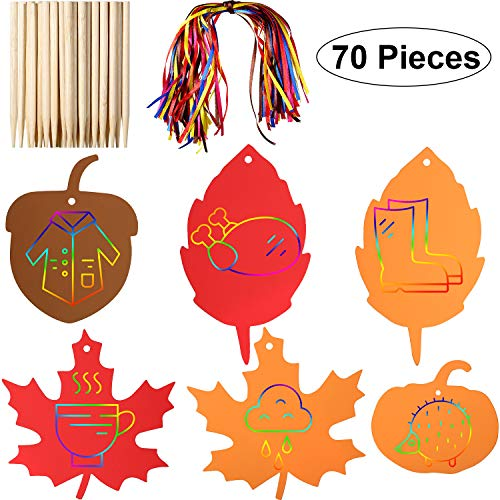 Fall Leaf Crafts (Gejoy 70 Pieces Thanksgiving Rainbow Scratch Paper Scratch Off Paper Fall Leaves Pumpkins Acorns Pattern Paper with Ribbons and Wooden Styluses for Harvest Party)