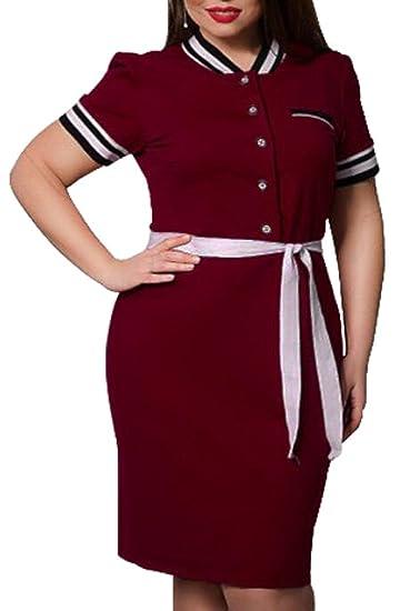 Fensajomon Womens Plus Size Button Belted Bodycon Work Polo Shirts