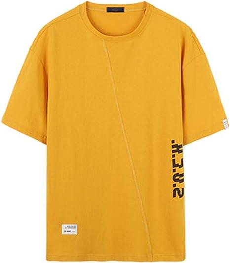 EASON Camiseta de Manga Corta, Cuello Redondo Estampado de algodón de Lino Suelto Camiseta de Manga Larga Top Summer Entertainment para Hombre,Amarillo,M: Amazon.es: Deportes y aire libre