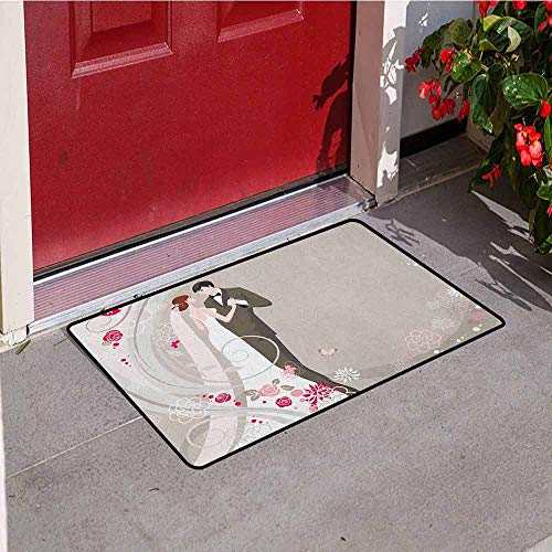 Gloria Johnson Wedding Welcome Door mat Abstract Wedding Ceremony Floral Ornament Designs Bride and Groom Celebration Door mat is odorless and Durable W31.5 x L47.2 Inch Grey Black Pink -