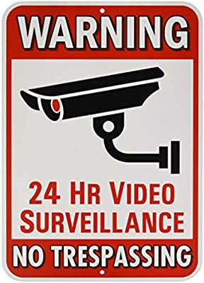 Size Options Warning 24 Hour Video Surveillance Sign No Trespassing Security