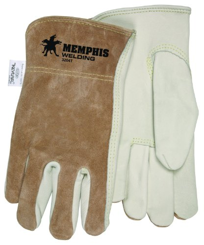 MCR Safety 3204XXL Select Grade Cow Grain Leather Driver Gloves Sewn with Kevlar Thread and Memphis Logo, Cream/Brown, 2X-Large, 1-Pair Memphis Split Leather Driver