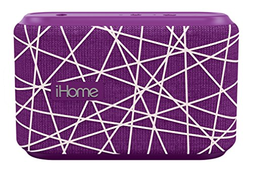 Ipod Purple Speaker - iHome Slip and Water Resistant Fabric Rechargeable Bluetooth Speaker with Speakerphone (Purple/White)