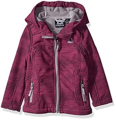 Reebok Girls' Little Active Classic Softshell Jacket, Wine Print, 4 Active Iv Soft Shell