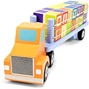 Alpha Block Cargo Truck with 28 Colorful Wooden ABC Alphabet Blocks Educational Toy by Imagination Generation
