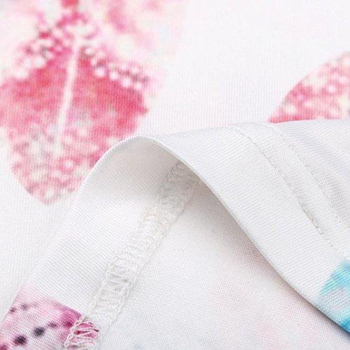 shirt Piuma Donna Senza Casual Canotta Estiva Top Stampa Corta Maglietta Longra Con Femminile Camicia T Bianco Corte Maniche zXZ5xwqwA