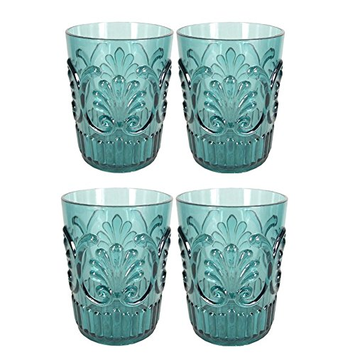 Le Cadeaux Fleur Teal Blue 4 Piece Water Glass Set