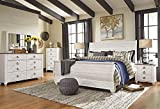 Willannet Casual Whitewash Color Wood Bed Room Set, King Sleigh Bed, Dresser, Mirror, Chest And Two Nightstands