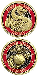 "United States Military US Armed Forces USMC Marines ""First Strike Deadly"" Snake & Death Skull Solider - Good Luck Double Sided Collectible Challenge Pewter Coin"