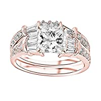 3.75 Carat 14K White Gold Baguette Round GIA Certified Princess Cut Diamond Engagement Ring Wedding Bridal Band Set (3 Ct H Color VS2 Clarity Center Stone)