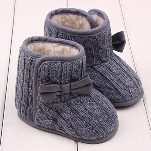 De la primera caliente Koly® de zapatos de invierno para bebés bastón extensible de marcha lazo de material de la suela infantil con diseño de botas de nieve gris Talla:13cm = 9-12 months gris
