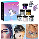#9: Holographic Nail Art Glitter Flakes - 6 Jars iMethod Chunky Glitter, Cosmetic Glitters Set for Festival Face Makeup, Body, Hair, Nail, and other Occasions