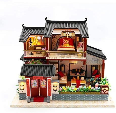 城・建物・情景のプラモデル・模型 DIYミニチュアルームSConstructionキット、木製モデルの構築セットミニハウス工芸のために女性と少女 誕生日 クリスマス プレゼント 贈り物 (Color : Multi-colored, Size : 21x32x5.5cm)