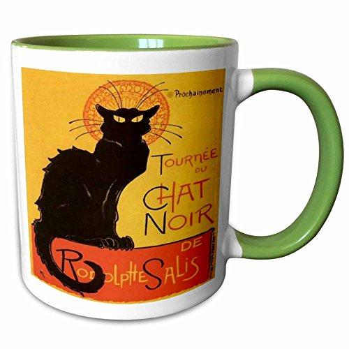 3dRose Taiche acrílico Art–gatos Le Chat Noir–tazas, Verde/Blanco, 11-oz Two-Tone Green Mug