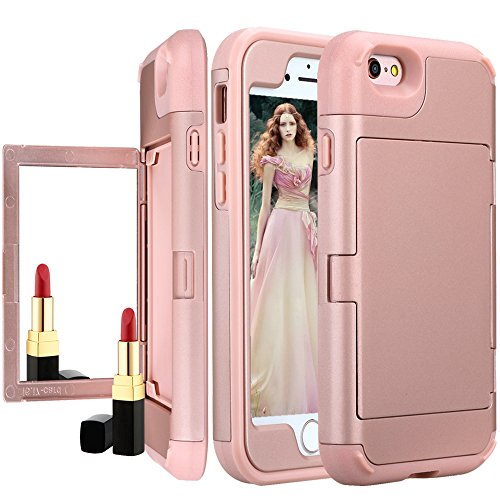 r Wallet Case,Auker Card Holder Feature 2 in 1 Slim Fit Armor [Hard Shell+Soft Silicon] Shockproof Impact Drop Resistant Hybrid Protective Purse Case for iphone 6 Plus (Rose Gold) ()